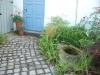 granite path and bird bath